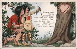 Native American Mother and Child Shooting Arrows Into Tree in Shape of a Heart