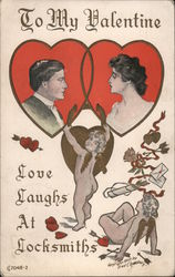 Two Cherubs Putting a Lock on a Man and Woman, To My Valentine, Love Laughs at Locksmiths
