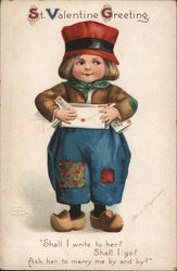 St. Valentine Greeting - A Boy Holding Mail