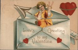 Child inside an envelope with hearts and an arrow