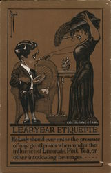 Leap-year Etiquette- A woman approaching a man sitting in a chair Comic Postcard