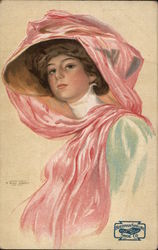 Woman Wearing Hat with Pink Scarf