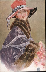 Woman in Pink Hat and Fur Trimmed Cape