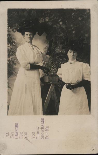 Two Women Picking Oranges California Fruit