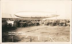 Airship USS Akron moored at Moffett Field