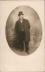 Man in Suit and Top Hat Smoking Cigar Postcard