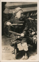 Asian Toddler on Tricycle Crying 1919 Oakland Art Studio Postcard