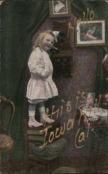Girl Standing on Books to Answer the Phone - Hello? Postcard
