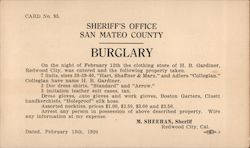 Sherriff's Office Burglary Notice