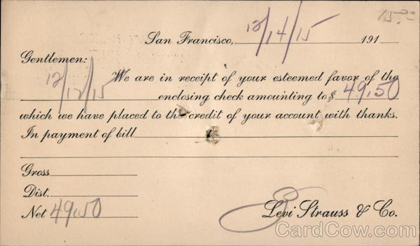 Receipt of Payment - Levi Strauss & Company San Francisco California