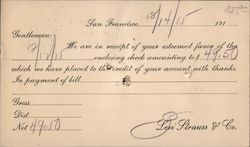 Receipt of Payment - Levi Strauss & Company