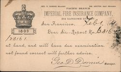 Imperial Fire Insurance Company Postcard