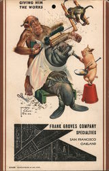 Giving Him the Works - Frank Groves Company Postcard
