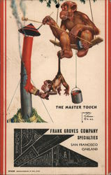 The Master Touch, Monkey Painting Smokestack, Frank Groves Company Postcard