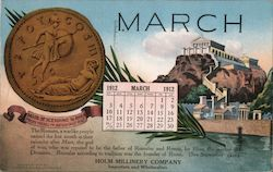 Hilm Millinery Company Importers and Wholesalers March 1912 Calendar