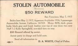 Apperson Stolen Automobile - $50 Reward
