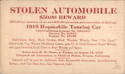 Stolen 1916 Hupmobile Touring Car