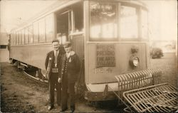 Two Men Standing By a Cable Car, Muni Postcard