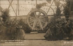 Humboldt County Display: 5th California Apple Show - Wheel Made of Apples Postcard