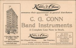 Kohler and Chase Announce Their Appointment as General Distributors for C.G. Conn Band Instruments Postcard