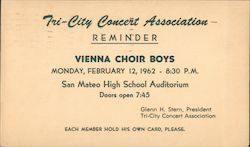 Tri-City Concert Association Reminder Vienna Choir Boys