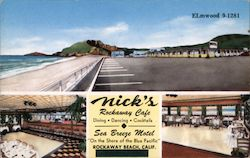 "Nick's Rockaway Cafe. Sea Breeze Motel ""On the Shore of the Blue Pacific"""