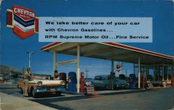 We take better care of your car with Chevron Gasolines. RPM Supreme Motor Oil. Fine Service. Postcard