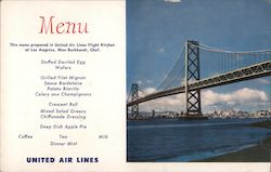 United Air Lines Menu - San Francisco Bay Bridge