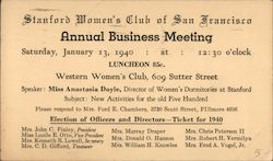 Stanford Women's Club of San Francisco Annual Business Meeting
