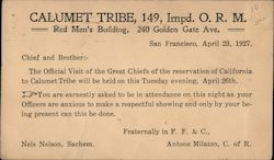 Calumet Tribe 149, Improved Order of Red Men Postcard