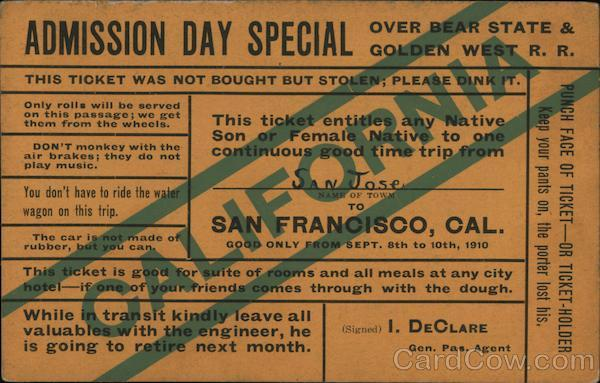 Admission Day Special San Francisco California