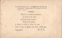 Earthquake Poem by R.P.L. Postcard