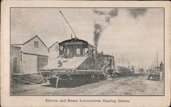 Electric and Steam Locomotives Hauling Debris