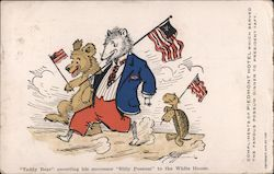"Cartoon - ""Teddy Bear"" escorting his successor ""Billy Possum"" to the White House."