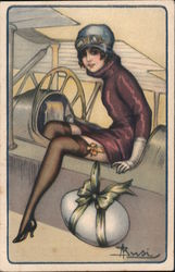 A Woman Getting Out of an Airplane in Stockings, Deco
