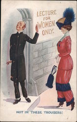 Lecture for Women Only. Not in These Trousers - A Woman in Trousers Stopped by a Man Postcard