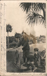 Two Men with Bicycles Postcard