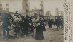 A Water Station in Business District Earthquake Postcard