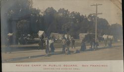 Refuge Camp in Public Square - Cooking the Evening Meal Earthquake Postcard