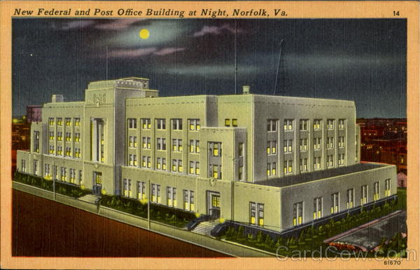 New Federal And Post Office Building At Night Norfolk Virginia