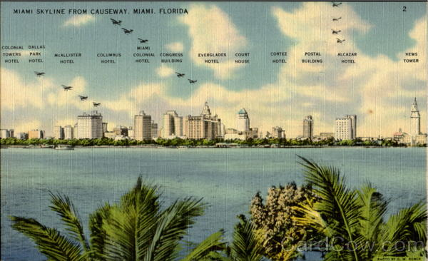 Miami Skyline From Causeway Florida