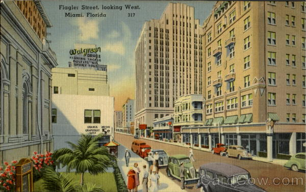 Flagler Street Looking West Miami Florida