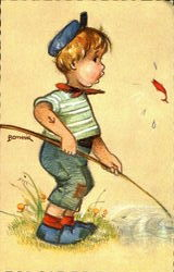 Boy Fishing Postcard