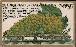 Railroad Car of Giant Grapes Postcard