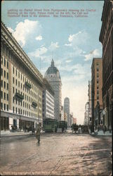 Looking Up Market Street From Montgomery Showing the Crocker Building on the Right, Palace Hotel on the Left, and Humboldt Bank in the Distance