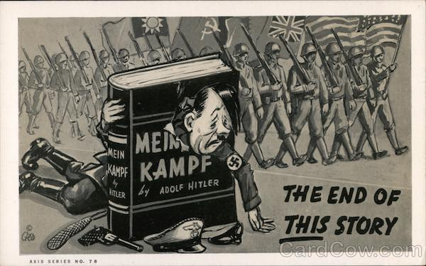 The End Of This Story. Armies Marching behind Adolf Hitler whose head is through a book.