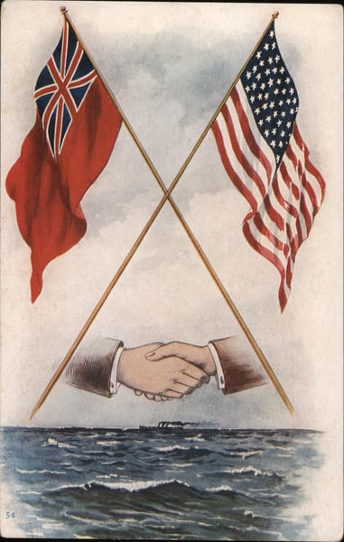 American and British Flag with hands shaking Patriotic