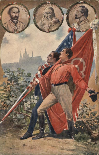 1912 Sokol Two Men Carrying American and Spanish Flags Czechoslovakia