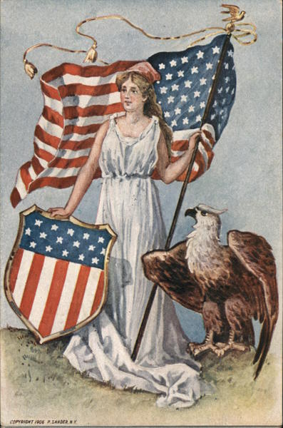 Woman Holding Flag and Flag Shield Next to an Eagle