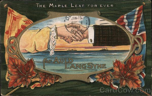 The Maple Leaf For Ever for Auld Lang Syne 2 hands shaking Canada